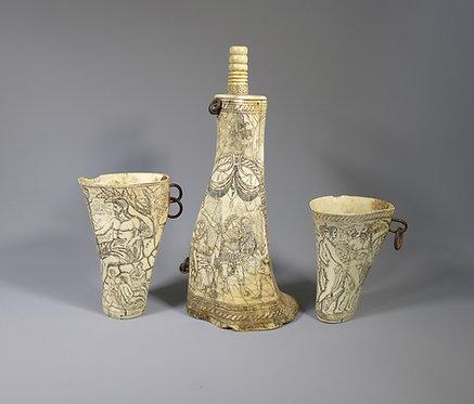 Rare 17th C. German Engraved Ox Bone Powder Flask and Beakers main