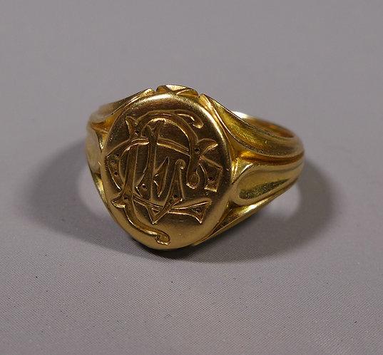 Fine 18ct Gold Signet Ring London 1898 UK Size N #1