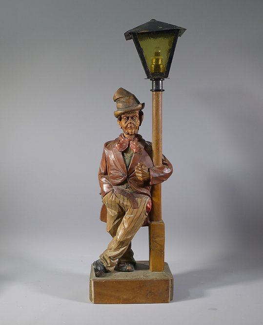 Rare Carl Griesbaum Carved Wood Whistler Tramp Automaton Figure