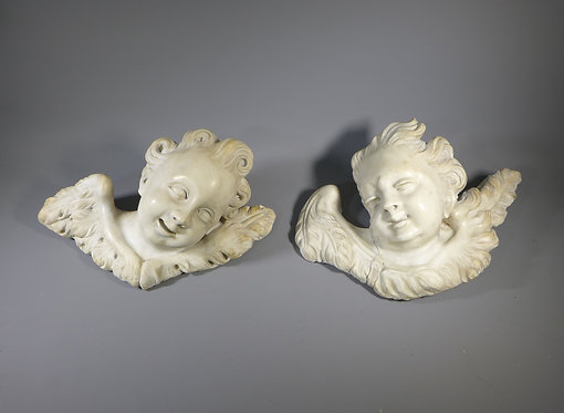 Two Rare Georgian Carved Marble Winged Cherub Heads #1