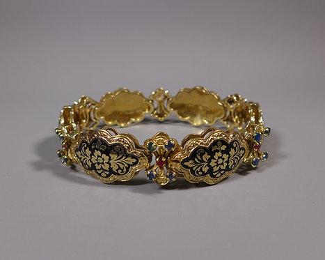 Fine Vintage 14ct Gold Enamel, Ruby and Sapphire Bracelet 41.6 Grams #1