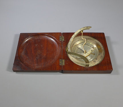 Antique 19th C. Mahogany Cased Equinoctial Compass Sundial #1