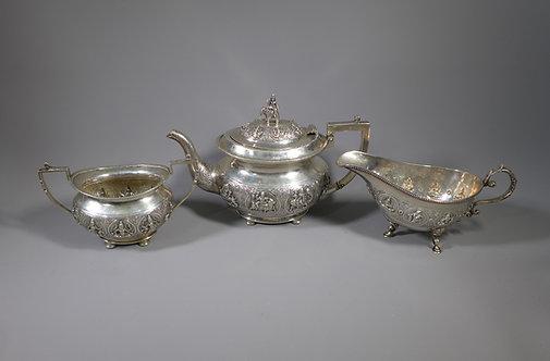 Fine Antique Indian Silver Three Piece Tea Set CKC & Sons Bangalore #1