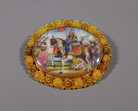 Fine Indian Sikh Miniature Painting Mounted in High Carat Gold as a Brooch #1
