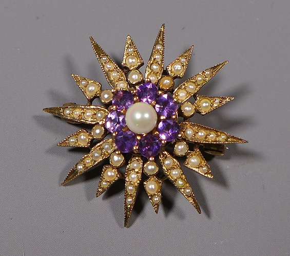 Vintage 9 Carat Gold Amethyst and Seed Pearl Star Brooch front
