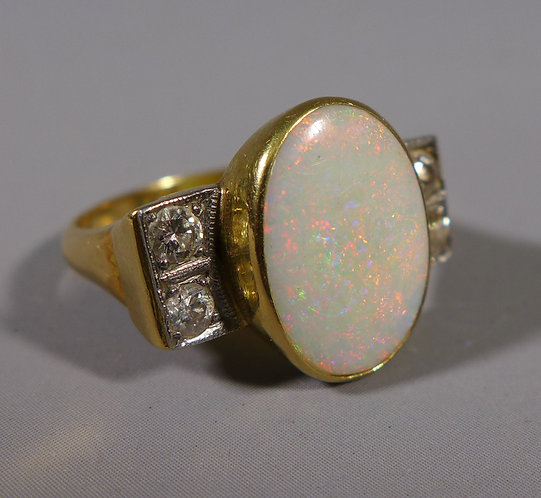 Fine Art Deco 18ct Gold Opal and Diamond Ring UK Size Q #1