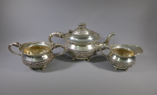Fine Antique Indian Silver Three Piece Elephant Tea Set CKC & Sons Bangalore