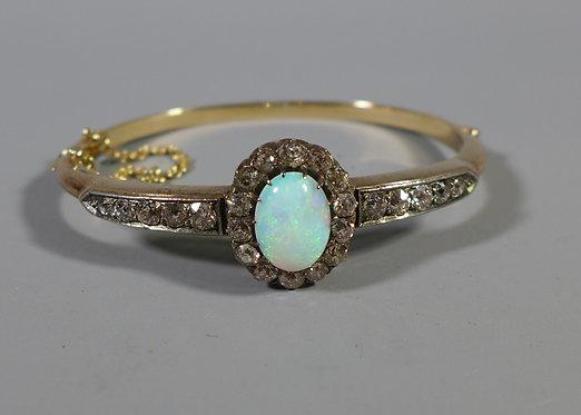 Fine Antique 15ct Gold Opal and Diamond Bracelet Bangle #1