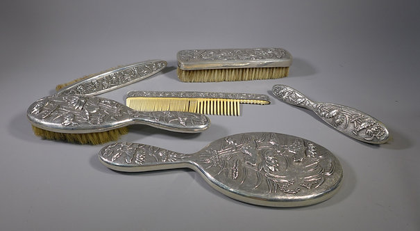 Fine Antique Oriental Chinese / Japanese Silver Six Piece Dressing Table Set #1