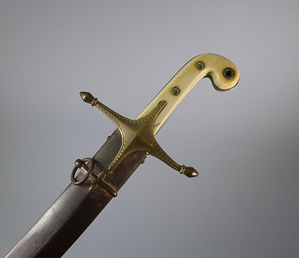 Fine Antique 19th C. Officer's Mameluke Sword in Steel Scabbard #1