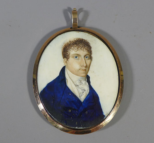 Antique Early 19th C. Gold & Enamel  Mounted Portrait Miniature of a Gentleman #1