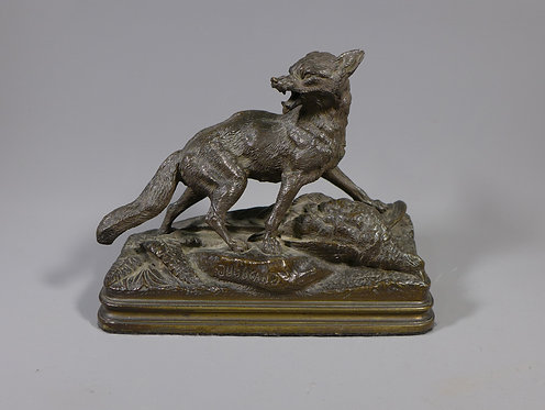 Fine Antique Animalia Bronze Fox and Pheasant by Alfred Dubucand #1