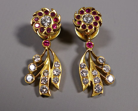 Pair of Fine Indian High Carat Gold, Diamond and Ruby Earrings