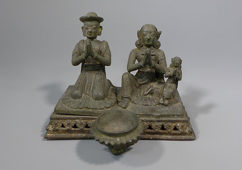Antique 18th/19th C. Nepalese Bronze Oil Lamp with Donor couple and inscription