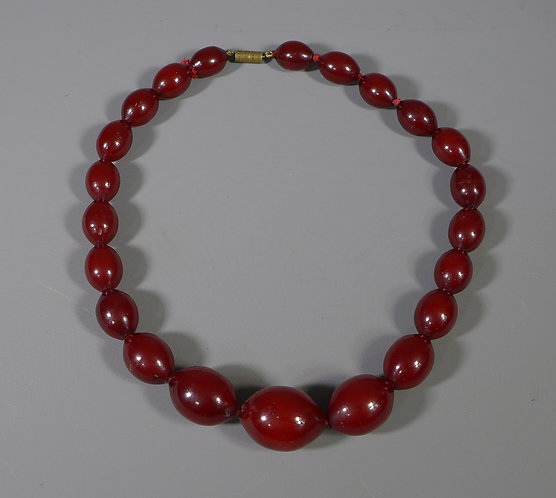 Fine Cherry Amber Lemon Shaped Bead Necklace 54 Grams #1