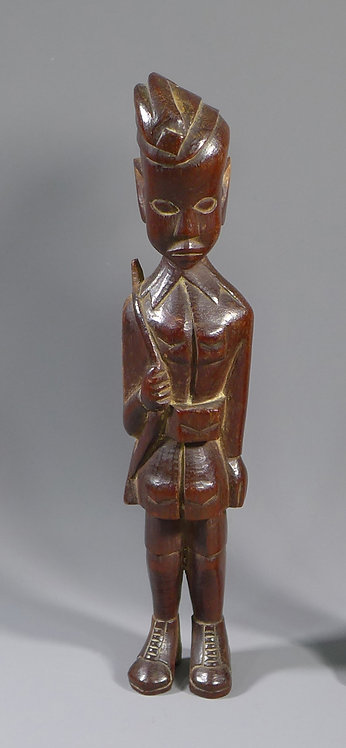 Unusual African Carved Wooden Figure of Soldier C. WW2