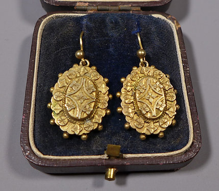 Pair of 19th C. Antique Silver Gilt Pendant Earrings in Box front