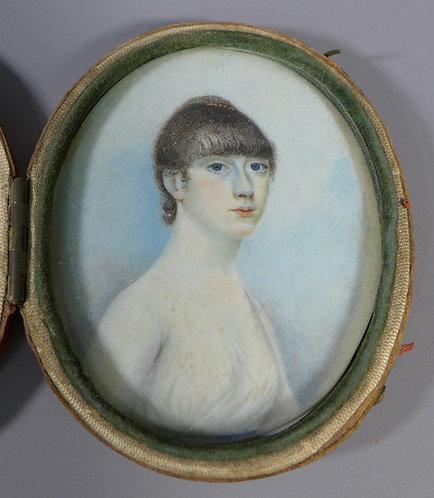 Fine Antique Georgian Portrait Miniature of a Lady in Morocco Leather Case #2