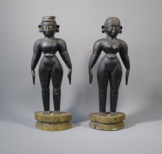 Pair of Antique 19th C. Indian Carved and Ebonised Wooden Figures