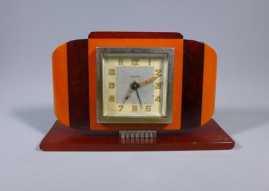 Art Deco Era Early Plastic Phenolic Bakelite Clock By Bayard #1