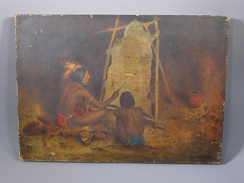 Antique Oil Painting depicting North American Indians Signed A G Barker #1
