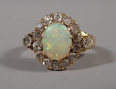 Fine Antique 18ct Gold Opal and Diamond Ring UK Size L #2
