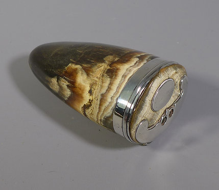 Fine Antique 19th C. Silver mounted Scottish Horn Snuff Mull #1
