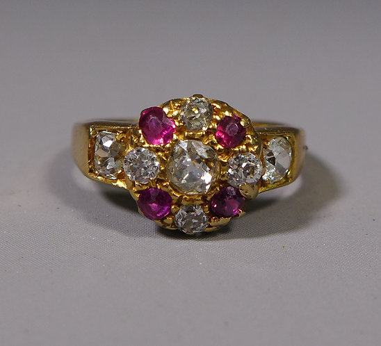 Antique 18ct Diamond and Ruby Cluster Ring UK size I/J