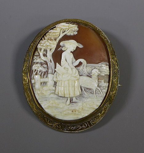 Large Antique Victorian Carved Shell Cameo #1