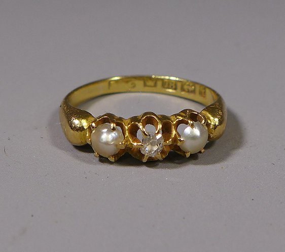Antique 18ct Pearl and Diamond Ring UK size H Birmingham 1883 #1