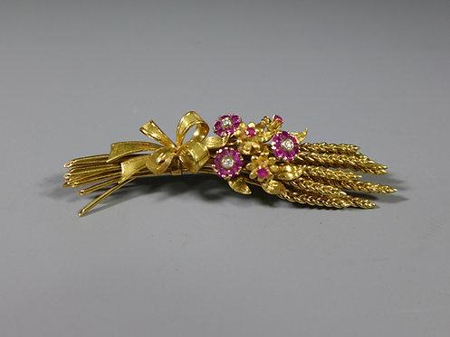 Vintage 18ct Gold and Ruby Floral Trembleuse Brooch Richard Hans Becker 1986 #1