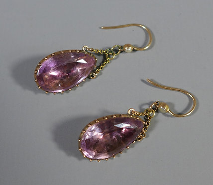 Fine Antique Gold Mounted Pink/Mauve Foil Back Paste Earrings #1