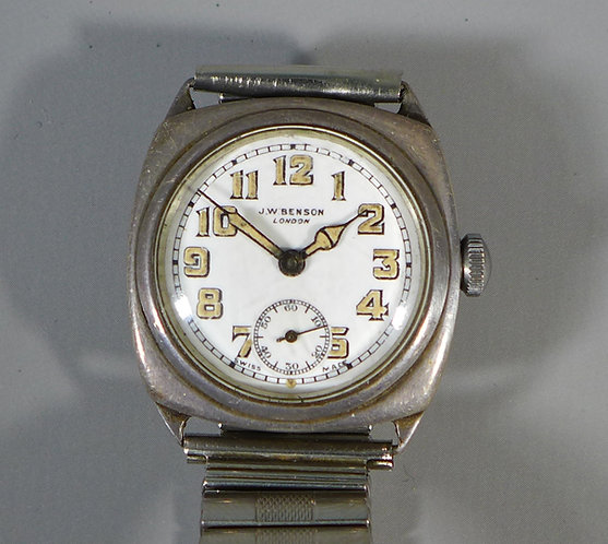 Antique Sterling Silver Benson WW1 Era Trench Wristwatch #1