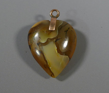 Antique Victorian Gold Mounted Carved Agate Heart Shaped Pendant #1