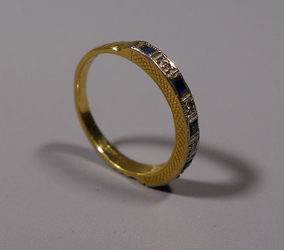 Vintage 18ct Gold, Sapphire and Diamond Half Eternity Ring UK size L #1