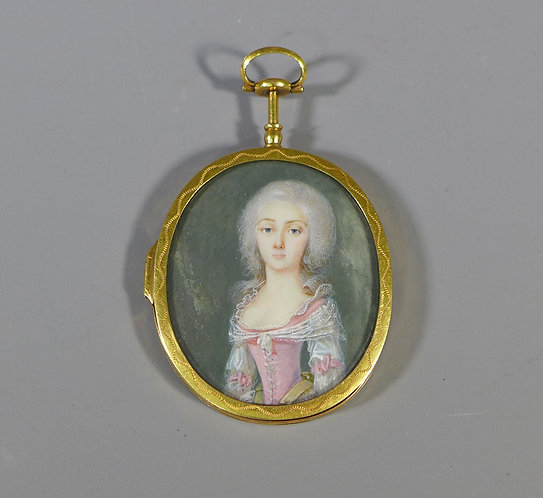 Fine Antique Early Georgian Gold Mounted Portrait Miniature of a Lady #1