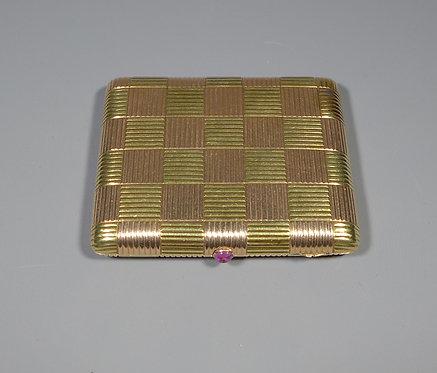 Rare Antique Russian? 14ct Two Colour Checkerboard Gold Cigarette Case main