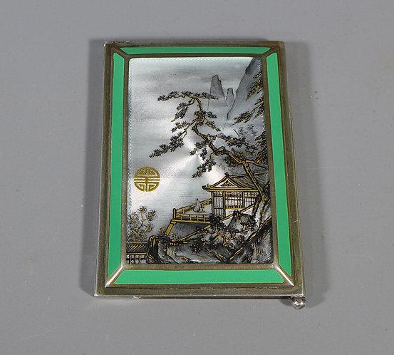 Fine Art Deco P H Vogel & Co Silver and Enamel Japanese Scene Aide Memoir #1