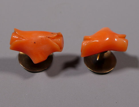 Pair of 19th C. Antique Gold Mounted Carved Pink Coral Collar Studs in Box Main