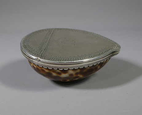 Fine Rare 18th C. Scottish Silver Mounted Cowrie Shell Snuff Box #1