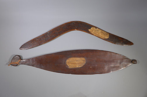 Fine Antique Australian Aboriginal Woomera & Boomerang collects by J B Roe #1