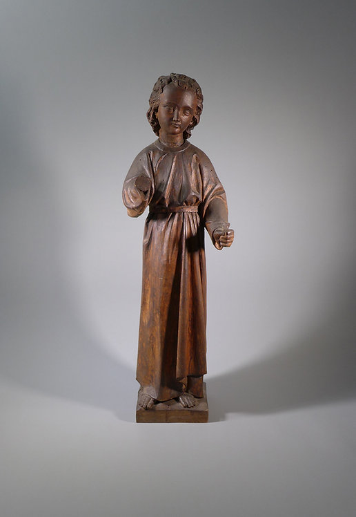 Fine 17th/18th C. Religious Wood Carving Figure of a Young Christ #1