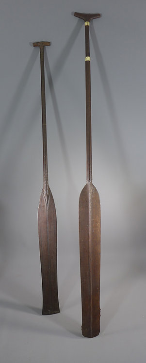 Two Fine Dayak Tribal Wooden Canoe Paddles Borneo #1