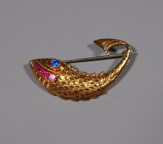 """Fine Vintage 14ct Gold Ruby and Sapphire """"Fish"""" Brooch Front"""