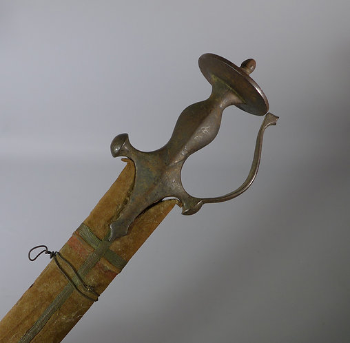 19th C. Steel Hilted Indian Tulwar complete with Scabbard #1