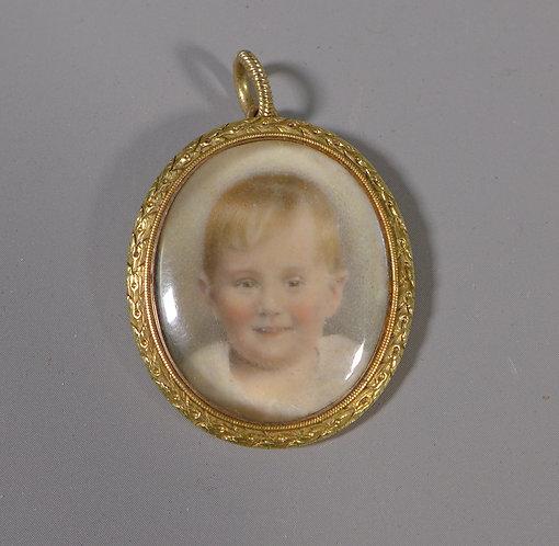 Fine Edwardian Antique Gold Glazed Photograph Locket Pendant 1909 #1