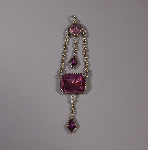 Fine Antique Silver Mounted Georgian Foiled Amethyst and Pearl Pendant #1