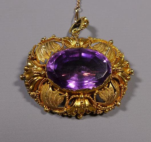 Georgian Amethyst Brooch Pendant Mounted in 20ct Gold #1