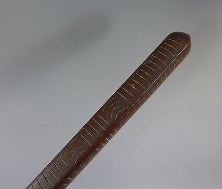 Large antique carved Samoan Povai pole club incised lime filled decoration Close up #1
