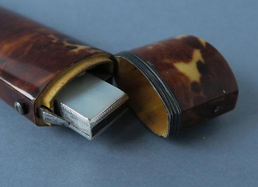 Rare Georgian MOP Folding Knife in a Tortoiseshell Case